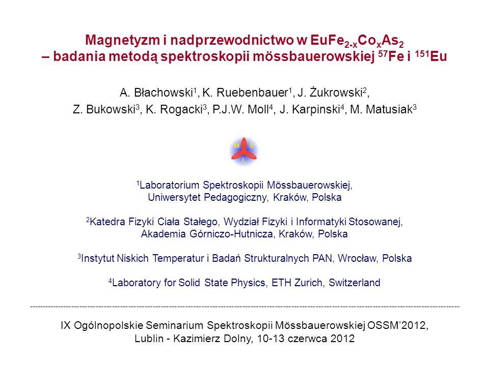 Magnetyzm i nadprzewodnictwo w EuFe 2-x Co x As 2 – badania metodą spektroskopii mössbauerowskiej 57 Fe i 151 Eu A. Błachowski 1, K. Ruebenbauer 1, J.
