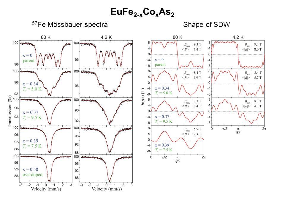 EuFe 2-x Co x As 2 57 Fe Mössbauer spectra Shape of SDW