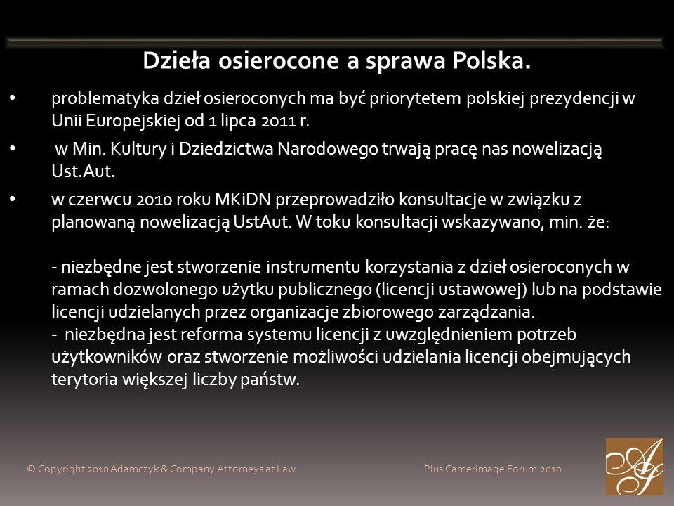 © Copyright 2010 Adamczyk & Company Attorneys at Law Plus Camerimage Forum 2010 Dzieła osierocone a sprawa Polska. problematyka dzieł osieroconych ma