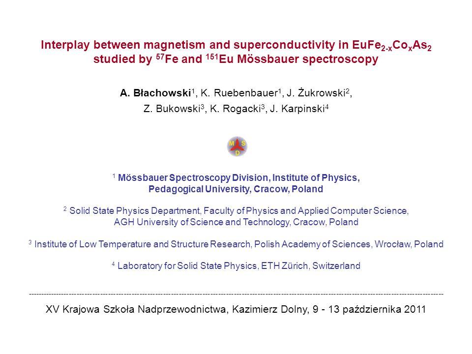 EuFe 2-x Co x As 2 T N (Eu) = 19 K A.Błachowski, K.Ruebenbauer, J.Żukrowski, Z.Bukowski, K.Rogacki, P.J.W.Moll, J.Karpinski, arXiv:1107.5271