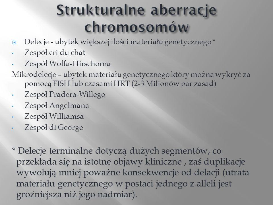 Delecje - ubytek większej ilości materiału genetycznego * Zespół cri du chat Zespół Wolfa-Hirschorna Mikrodelecje – ubytek materiału genetycznego któr