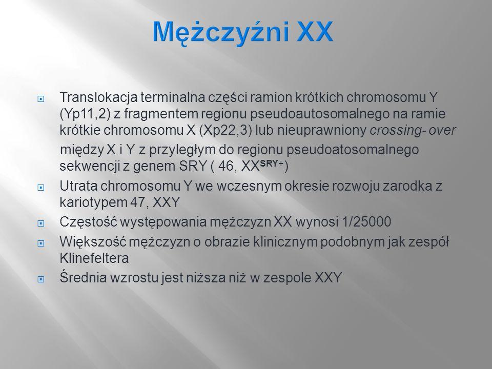 Translokacja terminalna części ramion krótkich chromosomu Y (Yp11,2) z fragmentem regionu pseudoautosomalnego na ramie krótkie chromosomu X (Xp22,3) l