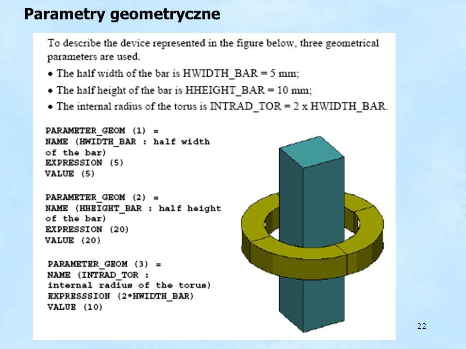 22 Parametry geometryczne