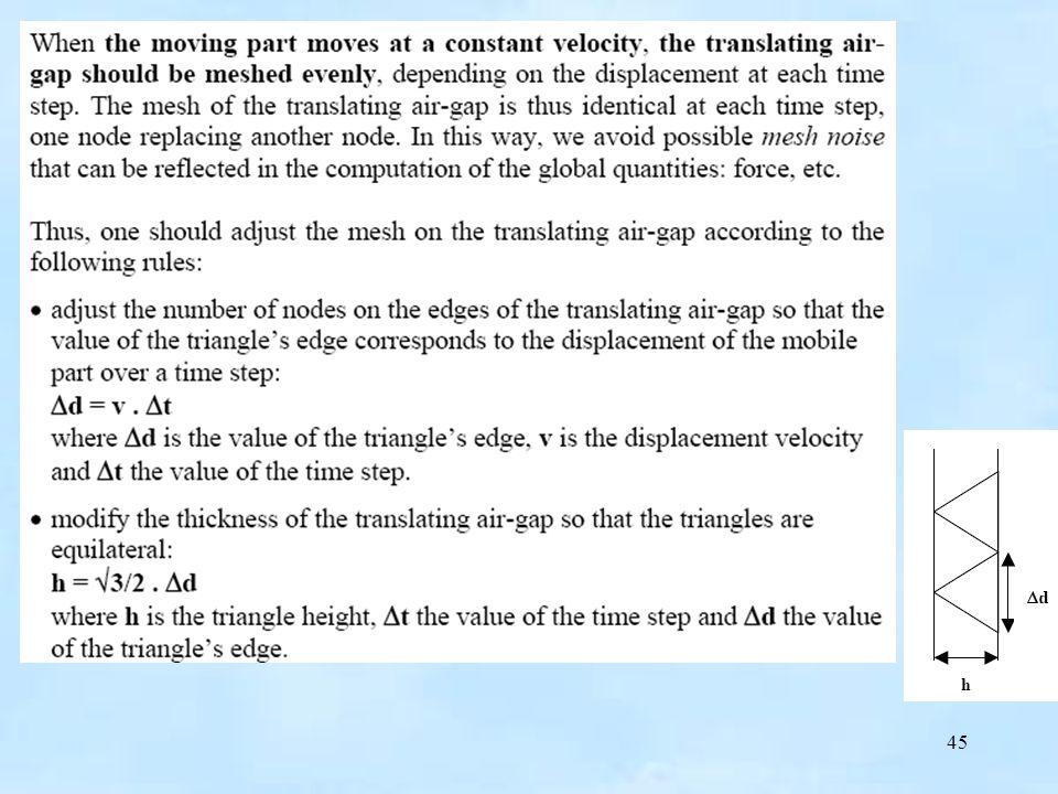 46 Podczas rozwiązywania problemu, siatka wirujacej szczeliny jest przebudowywana po zmianie położenia części wirujacej.