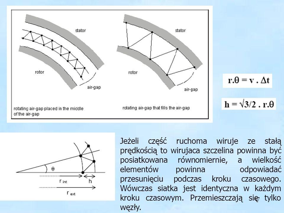 47 Jeżeli część ruchoma wiruje ze stałą prędkością to wirujaca szczelina powinna być posiatkowana równomiernie, a wielkość elementów powinna odpowiada
