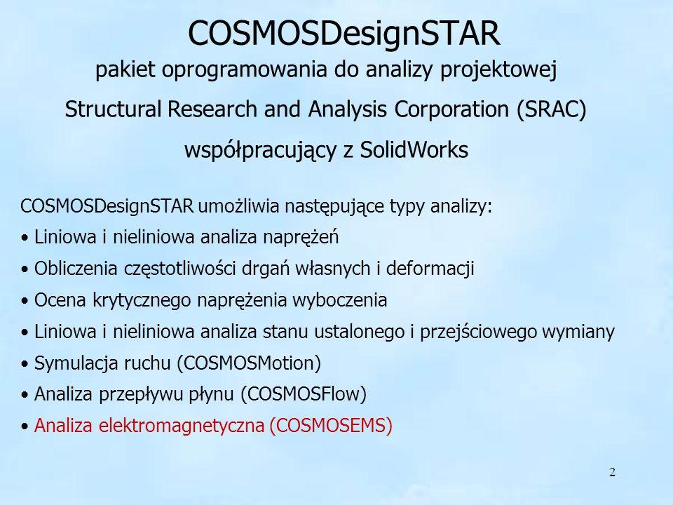 3 Cosmos EMS Analityczne możliwości COSMOSEMS obejmują: Elektrostatykę Pola przepływowe prądów Magnetostatykę (prąd stały) Pola elektromagnetyczne (prąd zmienny) Nieustalone pola magnetyczne COSMOSEMS jest 3D symulatorem dla pól elektromagnetycznych niskiej częstotliwości i zastosowań elektromechanicznych.