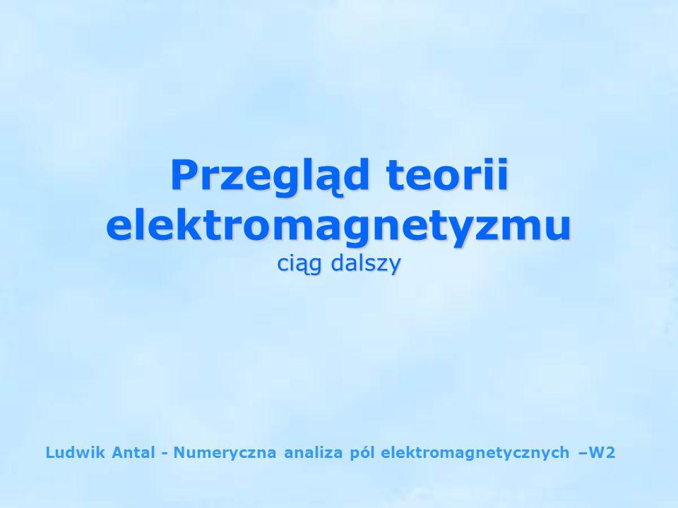 Przegląd teorii elektromagnetyzmu ciąg dalszy Ludwik Antal - Numeryczna analiza pól elektromagnetycznych –W2