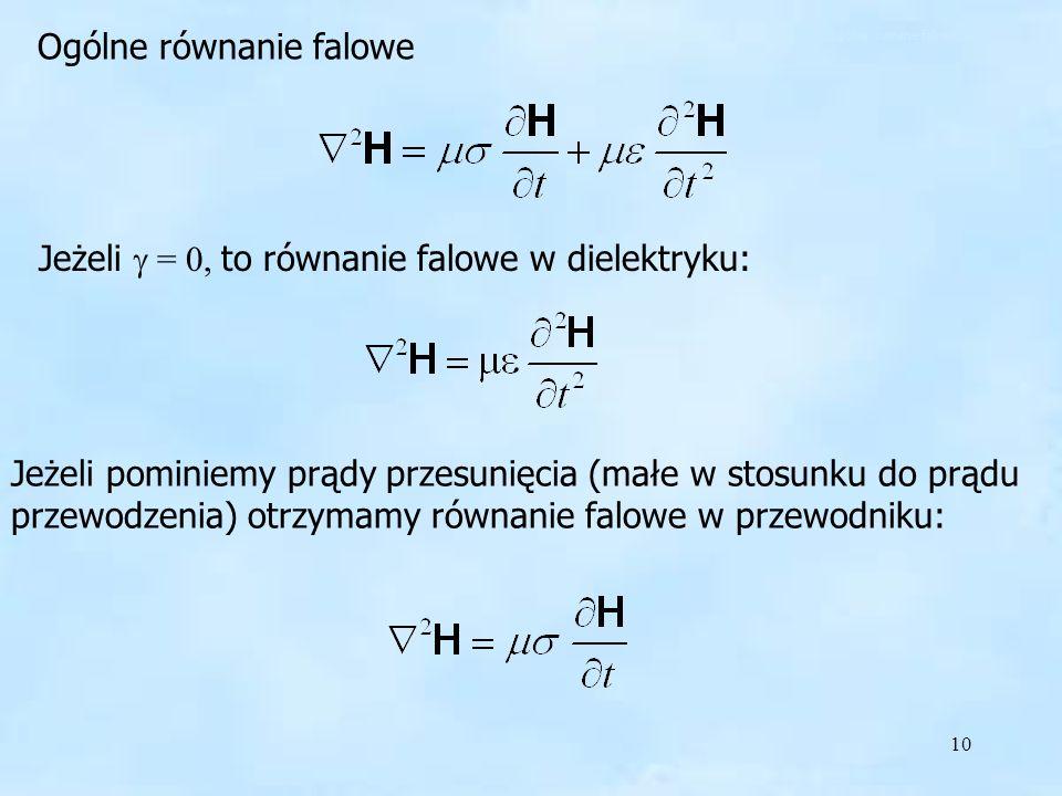 10 Jeżeli = 0, to równanie falowe w dielektryku: Ogólne równanie falowe Jeżeli pominiemy prądy przesunięcia (małe w stosunku do prądu przewodzenia) ot