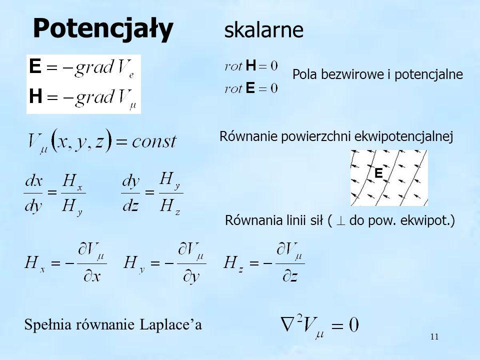 11 Potencjały skalarne Pola bezwirowe i potencjalne Równanie powierzchni ekwipotencjalnej Spełnia równanie Laplacea Równania linii sił ( do pow. ekwip