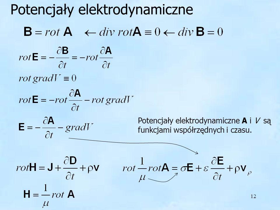 12 Potencjały elektrodynamiczne Potencjały elektrodynamiczne A i V są funkcjami współrzędnych i czasu.