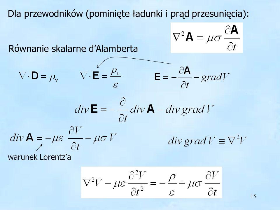 15 Dla przewodników (pominięte ładunki i prąd przesunięcia): Równanie skalarne dAlamberta warunek Lorentza Równanie skalarne dAlamberta