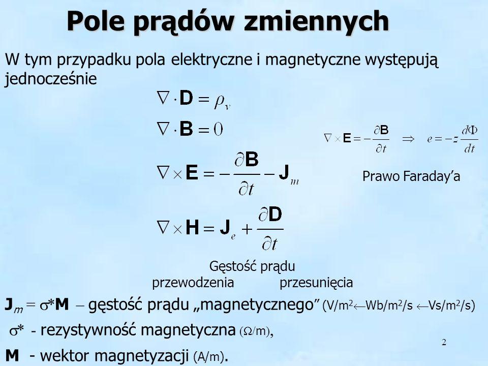 2 Pole prądów zmiennych W tym przypadku pola elektryczne i magnetyczne występują jednocześnie Gęstość prądu przewodzenia przesunięcia J m = * M – gęst