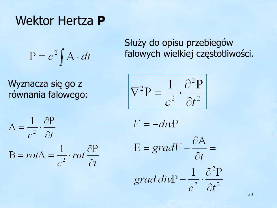 23 Wektor Hertza P Służy do opisu przebiegów falowych wielkiej częstotliwości. Wyznacza się go z równania falowego: