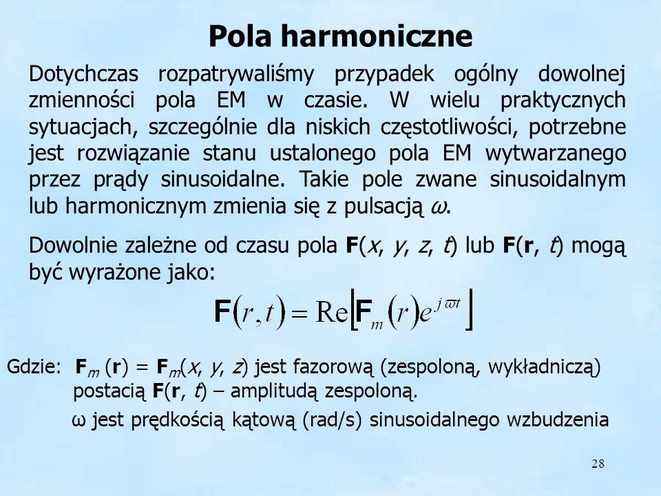 28 Pola harmoniczne Gdzie: F m (r) = F m (x, y, z) jest fazorową (zespoloną, wykładniczą) postacią F(r, t) – amplitudą zespoloną. ω jest prędkością ką