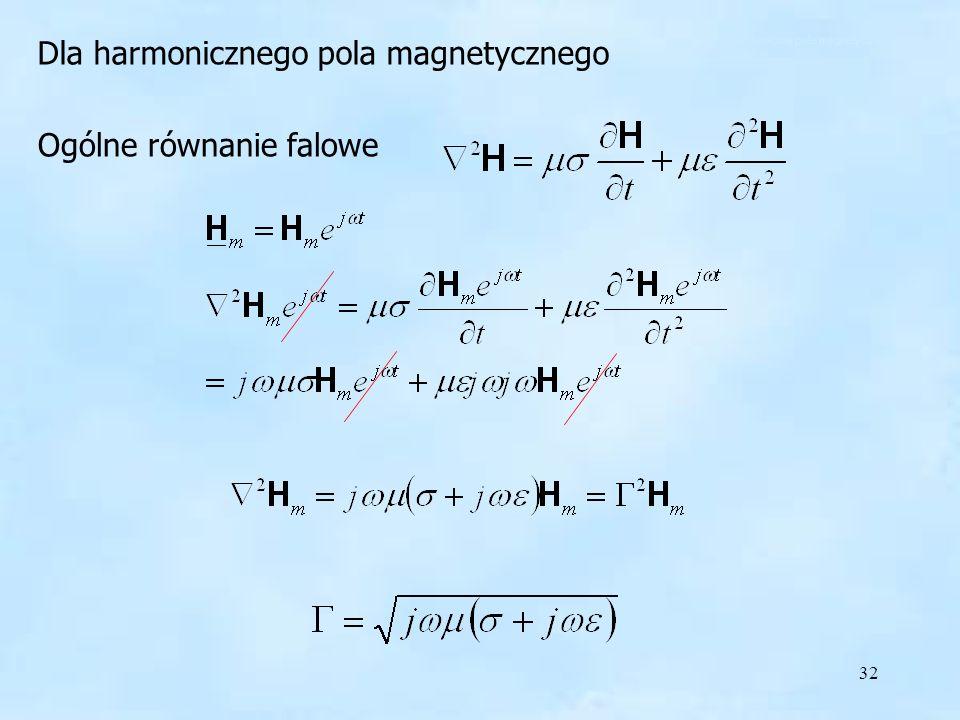 32 Dla harmonicznego pola magnetycznego Ogólne równanie falowe harmoniczne pole magnetyczne