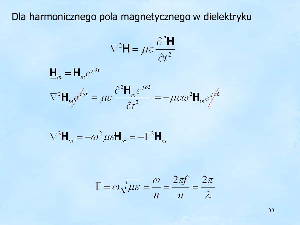 33 Dla harmonicznego pola magnetycznego w dielektryku harmoniczne pole w dielektryku