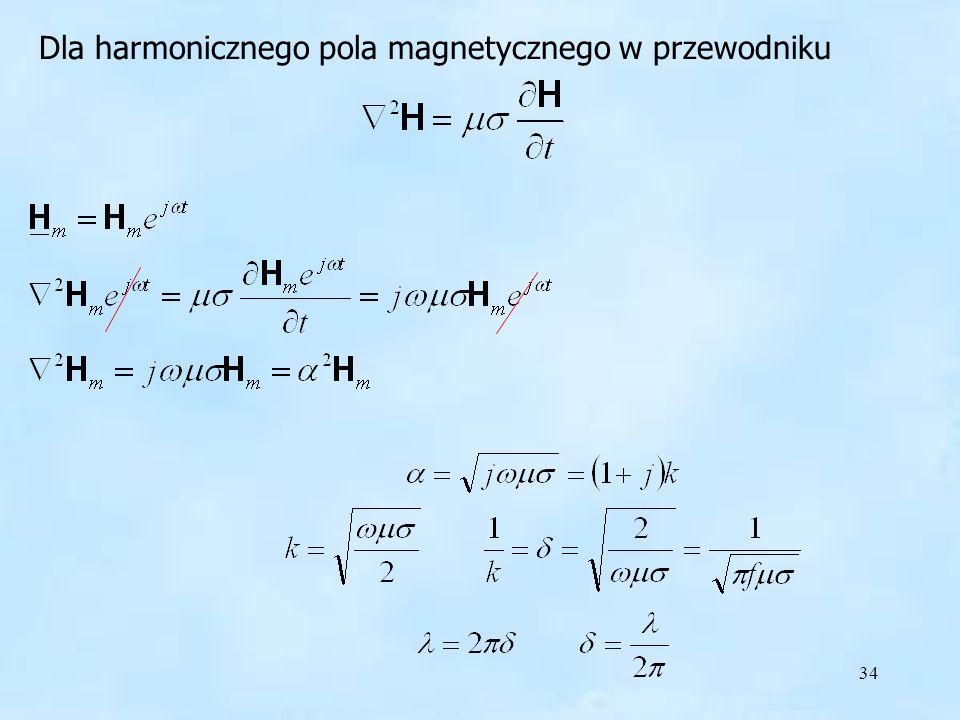 34 Dla harmonicznego pola magnetycznego w przewodniku harmoniczne pole w przewodniku