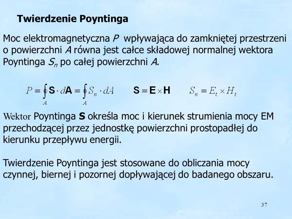 37 Twierdzenie Poyntinga Moc elektromagnetyczna P wpływająca do zamkniętej przestrzeni o powierzchni A równa jest całce składowej normalnej wektora Po