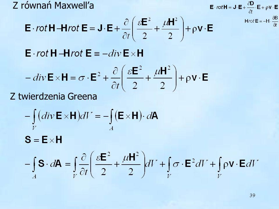 39 Z równań Maxwella Z twierdzenia Greena