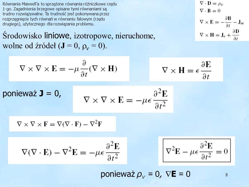 8 Równania Maxwella to sprzężone równania różniczkowe rzędu 1-go. Zagadnienia brzegowe opisane tymi równaniami są trudno rozwiązywalne. Ta trudność je