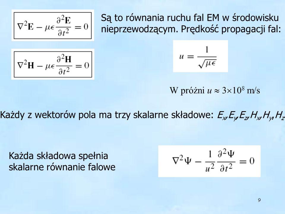 9 Równanie falowe H Są to równania ruchu fal EM w środowisku nieprzewodzącym. Prędkość propagacji fal: W próżni u 3 10 8 m/s Każdy z wektorów pola ma