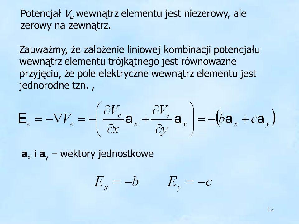 12 Pole elektryczne wewnątrz Potencjał V e wewnątrz elementu jest niezerowy, ale zerowy na zewnątrz. Zauważmy, że założenie liniowej kombinacji potenc