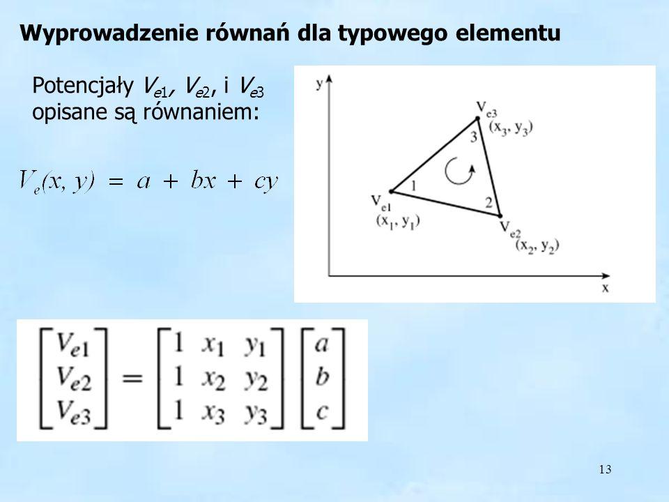 13 Wyprowadzenie równań Potencjały V e1, V e2, i V e3 opisane są równaniem: Wyprowadzenie równań dla typowego elementu