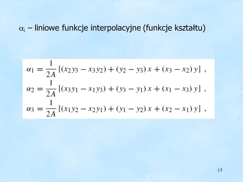 15 Alfa i A i – liniowe funkcje interpolacyjne (funkcje kształtu)