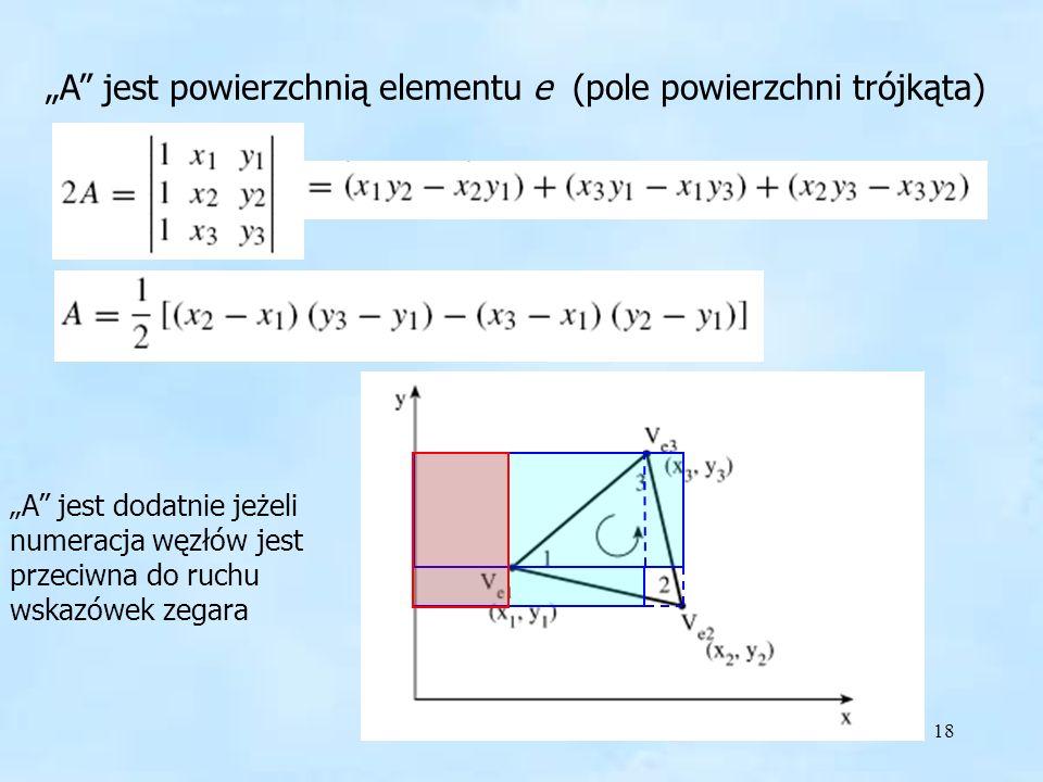 18 A jest powierzchnią elementu e (pole powierzchni trójkąta) A jest dodatnie jeżeli numeracja węzłów jest przeciwna do ruchu wskazówek zegara