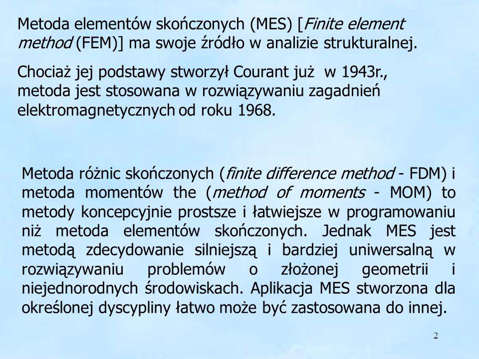 2 FEM - MES Metoda elementów skończonych (MES) [Finite element method (FEM)] ma swoje źródło w analizie strukturalnej. Chociaż jej podstawy stworzył C