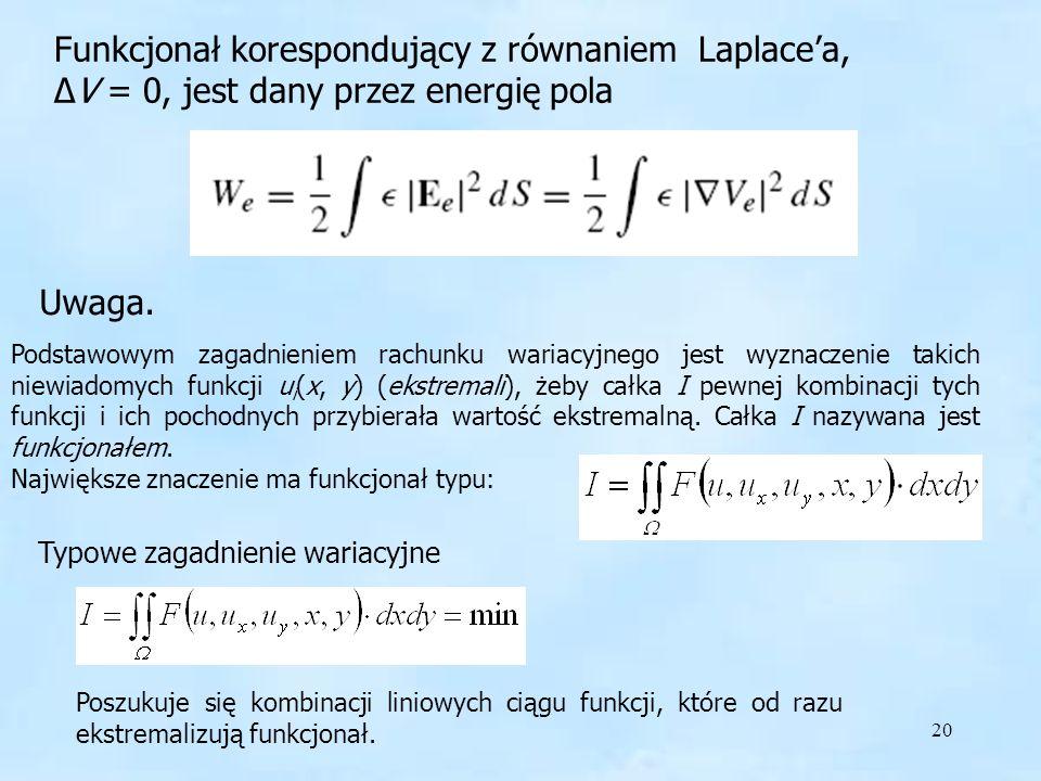 20 Funkcjonał Funkcjonał korespondujący z równaniem Laplacea, V = 0, jest dany przez energię pola Podstawowym zagadnieniem rachunku wariacyjnego jest