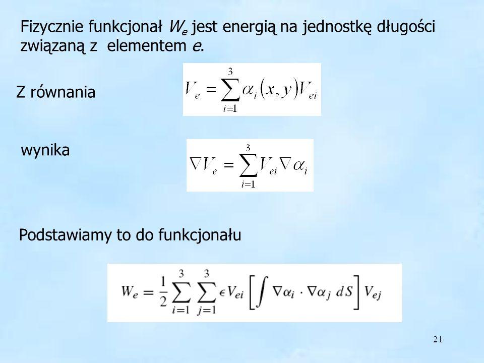21 Fizycznie Fizycznie funkcjonał W e jest energią na jednostkę długości związaną z elementem e. Z równania wynika Podstawiamy to do funkcjonału