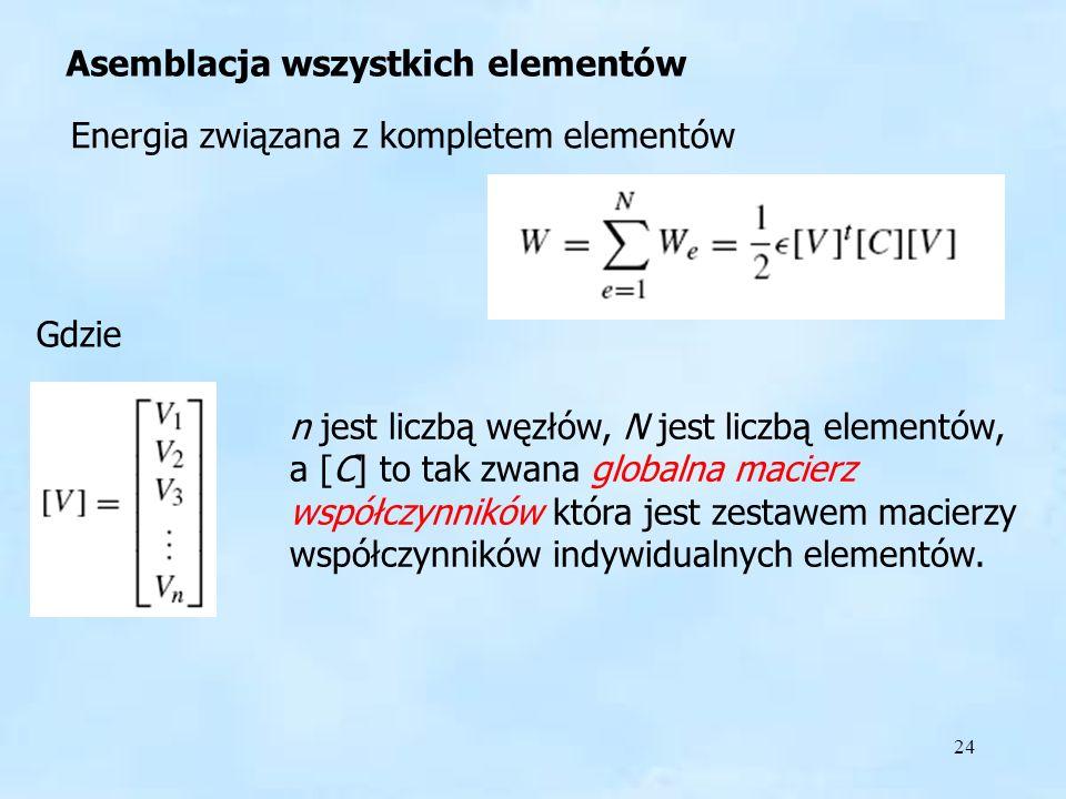 24 Asemblacja Asemblacja wszystkich elementów Energia związana z kompletem elementów Gdzie n jest liczbą węzłów, N jest liczbą elementów, a [C] to tak