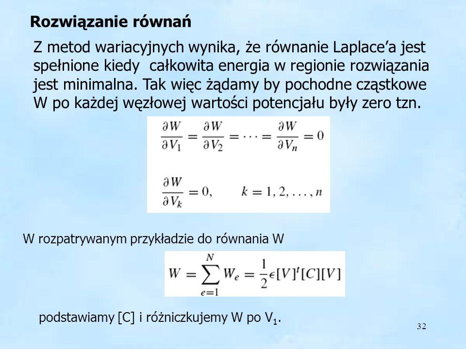 32 Rozwiązanie równań Z metod wariacyjnych wynika, że równanie Laplacea jest spełnione kiedy całkowita energia w regionie rozwiązania jest minimalna.