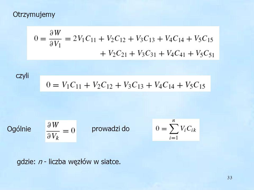 33 Otrzymujemy czyli Ogólnie prowadzi do gdzie: n - liczba węzłów w siatce.