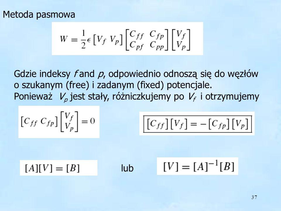 37 Metoda pasmowa Gdzie indeksy f and p, odpowiednio odnoszą się do węzłów o szukanym (free) i zadanym (fixed) potencjale. Ponieważ V p jest stały, ró