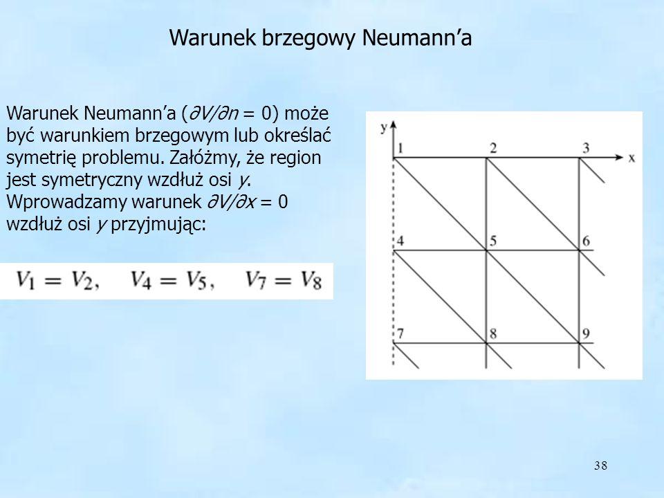 38 Warunek brzegowy Neumanna Warunek brzegowy Neumana Warunek Neumanna (V/n = 0) może być warunkiem brzegowym lub określać symetrię problemu. Załóżmy,
