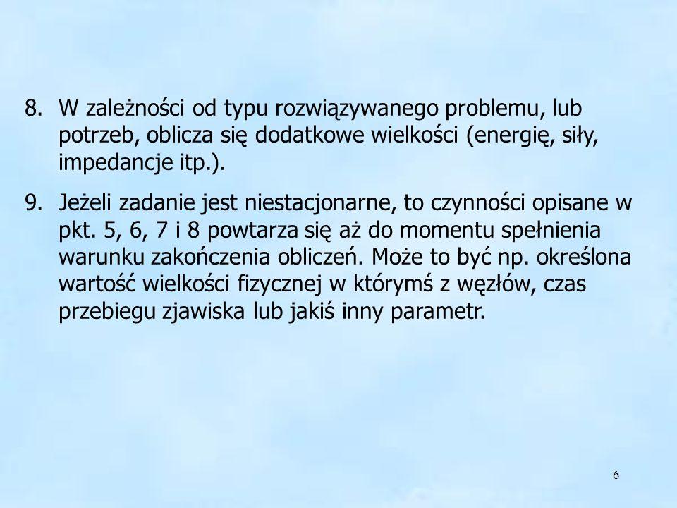 6 8.W zależności od typu rozwiązywanego problemu, lub potrzeb, oblicza się dodatkowe wielkości (energię, siły, impedancje itp.). 9.Jeżeli zadanie jest