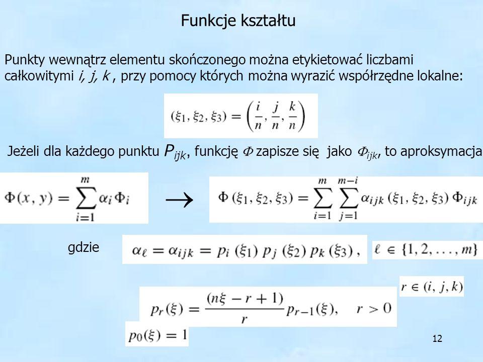 12 Punkty wewnątrz elementu skończonego można etykietować liczbami całkowitymi i, j, k, przy pomocy których można wyrazić współrzędne lokalne: Funkcje