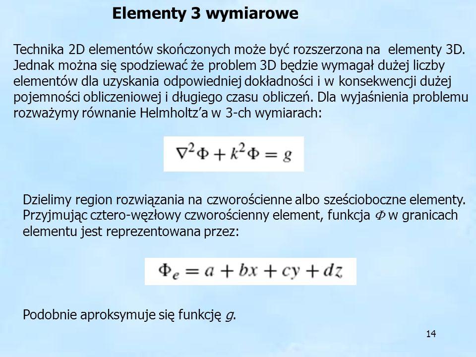 14 Elementy 3 wymiarowe Technika 2D elementów skończonych może być rozszerzona na elementy 3D. Jednak można się spodziewać że problem 3D będzie wymaga