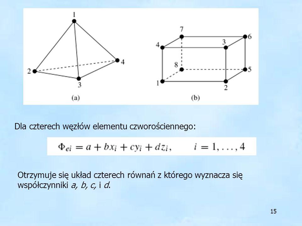 15 Dla czterech węzłów elementu czworościennego: Otrzymuje się układ czterech równań z którego wyznacza się współczynniki a, b, c, i d.