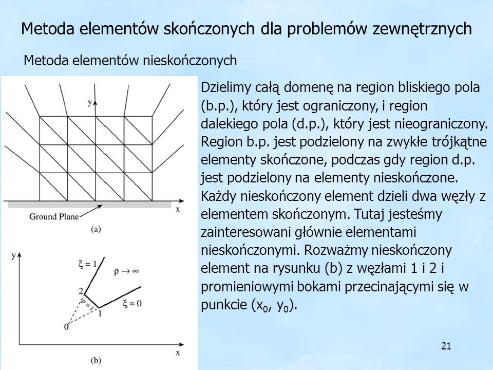 21 Metoda elementów skończonych dla problemów zewnętrznych Metoda elementów nieskończonych Dzielimy całą domenę na region bliskiego pola (b.p.), który
