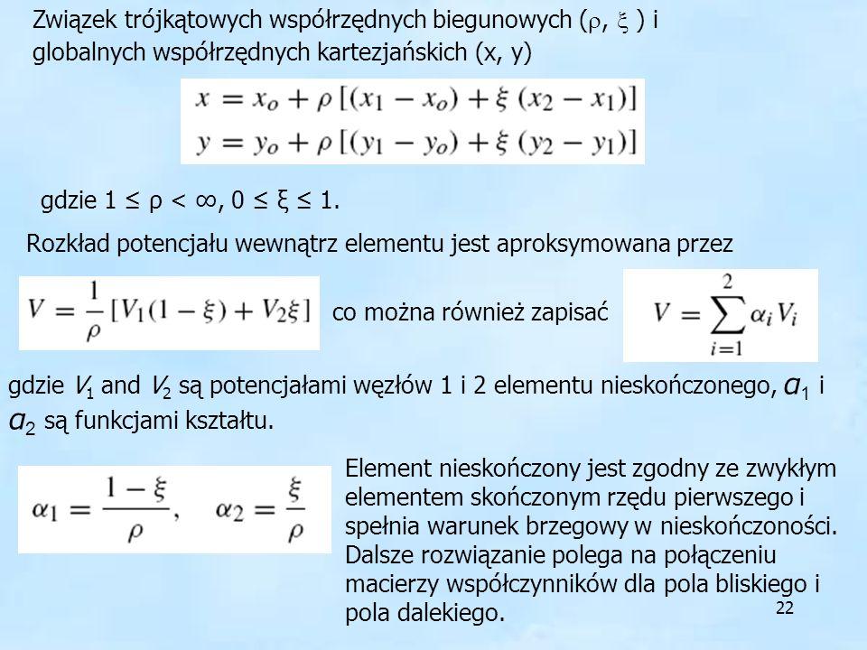 22 Związek trójkątowych współrzędnych biegunowych (, ) i globalnych współrzędnych kartezjańskich (x, y) gdzie 1 ρ <, 0 ξ 1. Rozkład potencjału wewnątr