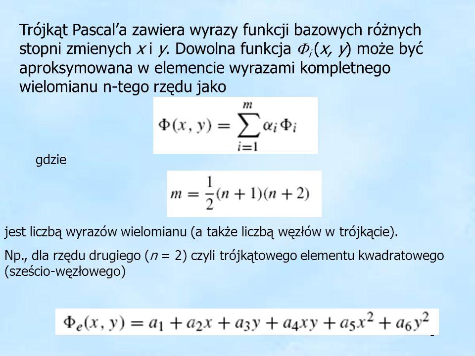 5 Trójkąt Pascala zawiera wyrazy funkcji bazowych różnych stopni zmienych x i y. Dowolna funkcja i (x, y) może być aproksymowana w elemencie wyrazami