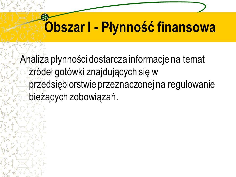 Obszar I - Płynność finansowa Analiza płynności dostarcza informacje na temat źródeł gotówki znajdujących się w przedsiębiorstwie przeznaczonej na reg