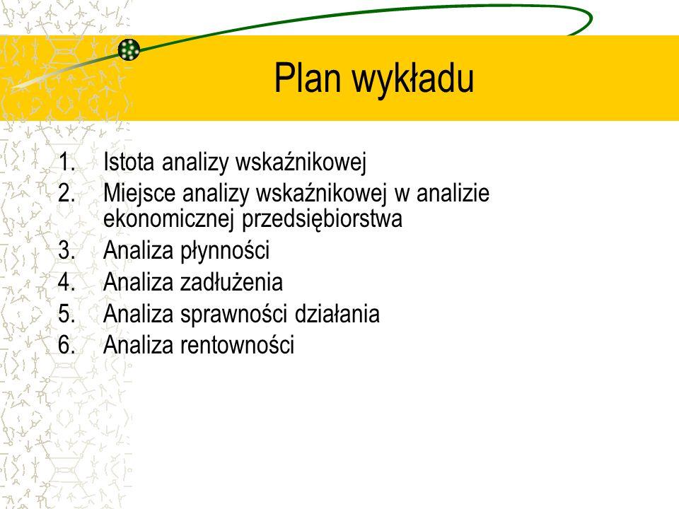 Plan wykładu 1.Istota analizy wskaźnikowej 2.Miejsce analizy wskaźnikowej w analizie ekonomicznej przedsiębiorstwa 3.Analiza płynności 4.Analiza zadłu