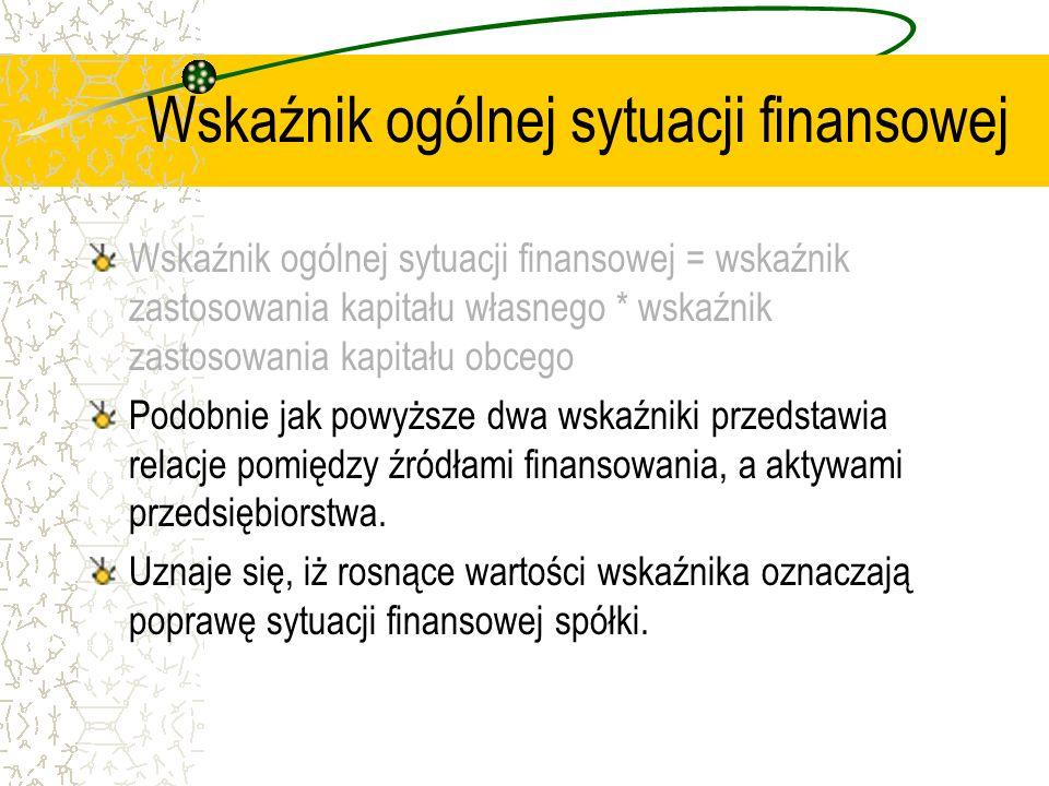Wskaźnik ogólnej sytuacji finansowej Wskaźnik ogólnej sytuacji finansowej = wskaźnik zastosowania kapitału własnego * wskaźnik zastosowania kapitału o