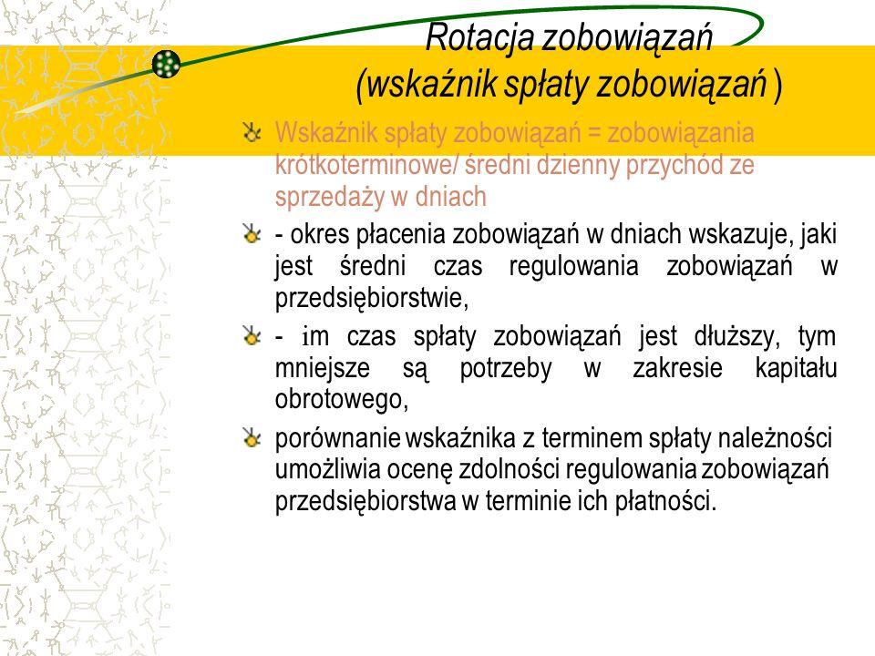 Rotacja zobowiązań (wskaźnik spłaty zobowiązań ) Wskaźnik spłaty zobowiązań = zobowiązania krótkoterminowe/ średni dzienny przychód ze sprzedaży w dni