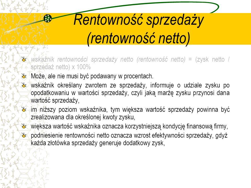 Rentowność sprzedaży (rentowność netto) wskaźnik rentowności sprzedaży netto (rentowność netto) = (zysk netto / sprzedaż netto) x 100% Może, ale nie m