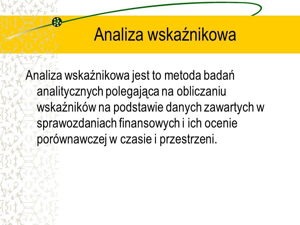 Analiza wskaźnikowa Analiza wskaźnikowa jest to metoda badań analitycznych polegająca na obliczaniu wskaźników na podstawie danych zawartych w sprawoz